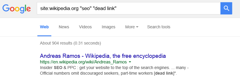 find dead link with Wikipedia